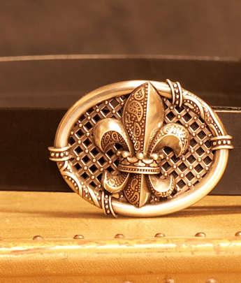 ceinture fleur de lys cuir France