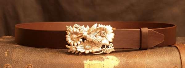 ceinture cuir artisanal boucle colibri français