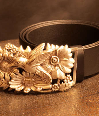 ceinture cuir artisanal colibri oiseau boucle